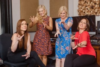 Images of Helen Dallimore, Gemma Rix, Lucy Durack and Amanda Harrison at Kings X Music studio, recording promotions for Witches with the Sydney Symphony Orchestra. Photos by Robert Catto, taken on Friday 29 April, 2016.