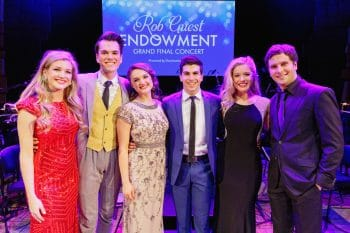 The six finalists of last year's Rob Guest Endowment - Georgina Hopson, Blake Appelqvist, Hilary Cole, recipient Daniel Assetta, Ashleigh Rubenach and Robert McDougall - on stage at the Rob Guest Endowment Gala 2015, taken at the Lyric Theatre in Sydney, on Monday, 9 November 2015. Hosted by David Campbell and Lucy Durack, guest artists performing at the concert included musical theatre performers Rob Mills, Caroline OíConnor and Jemma Rix, Dirty Dancing star Mark Vincent, 2014 Rob Guest Endowment winner Josh Robson, and cast members from CATS and Matilda the Musical. The six finalists for the 2015 Rob Guest Endowment are Blake Appelqvist (West Side Story, new VCA Graduate), Daniel Assetta (Cats, Wicked), Hilary Cole (Carrie, Dogfight), Georgina Hopson (Into The Woods, The Pirates of Penzance), Rob McDougall (Les Miserables, Phantom of the Opera) and Ashleigh Rubenach (Anything Goes, The Sound of Music). The competition was judged by three of Australian musical theatreís finest creatives, Kelly Abbey, Peter Casey and Gale Edwards. The 2015 recipient was Daniel Assetta.