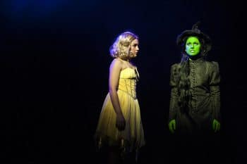 Mikayala Williams as Glinda and Ashleigh O'Brien as Elphaba in Packemin's Wicked. Grant Leslie Photography