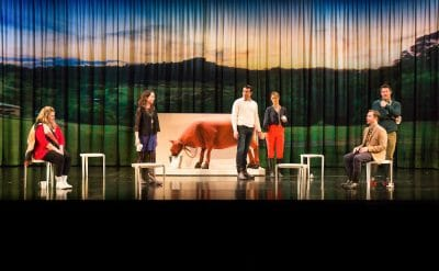 Heidi Arena, Alison Bell, Rohan Nichol, Christie Whelan Browne, Toby Truslove and Eddie Perfect in The Beast. Image by Ken Nakanishi