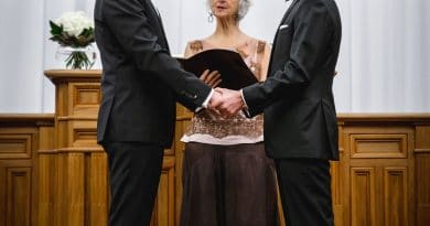 Matthew Lee Robinson and Scott Morris at their wedding in Auckland, 2016