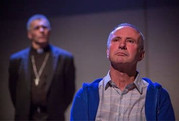 Joss McWilliam as Archbishop John Bathersby and Peter Marshall as Fr Peter Kennedy in St Mary's in Exile - QTC. Photo by Stephen Henry.