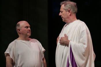 Phillip Scott and Jonathan Biggins in Sydney Theatre Company's The Wharf Revue 2016: Back to Bite You © Brett Boardman