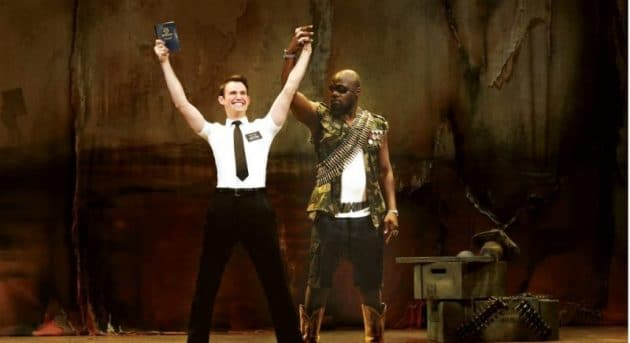 The Book of Mormon. Ryan Bondy & Auguston Aziz Tchantcho, Photo by Jeff Busby