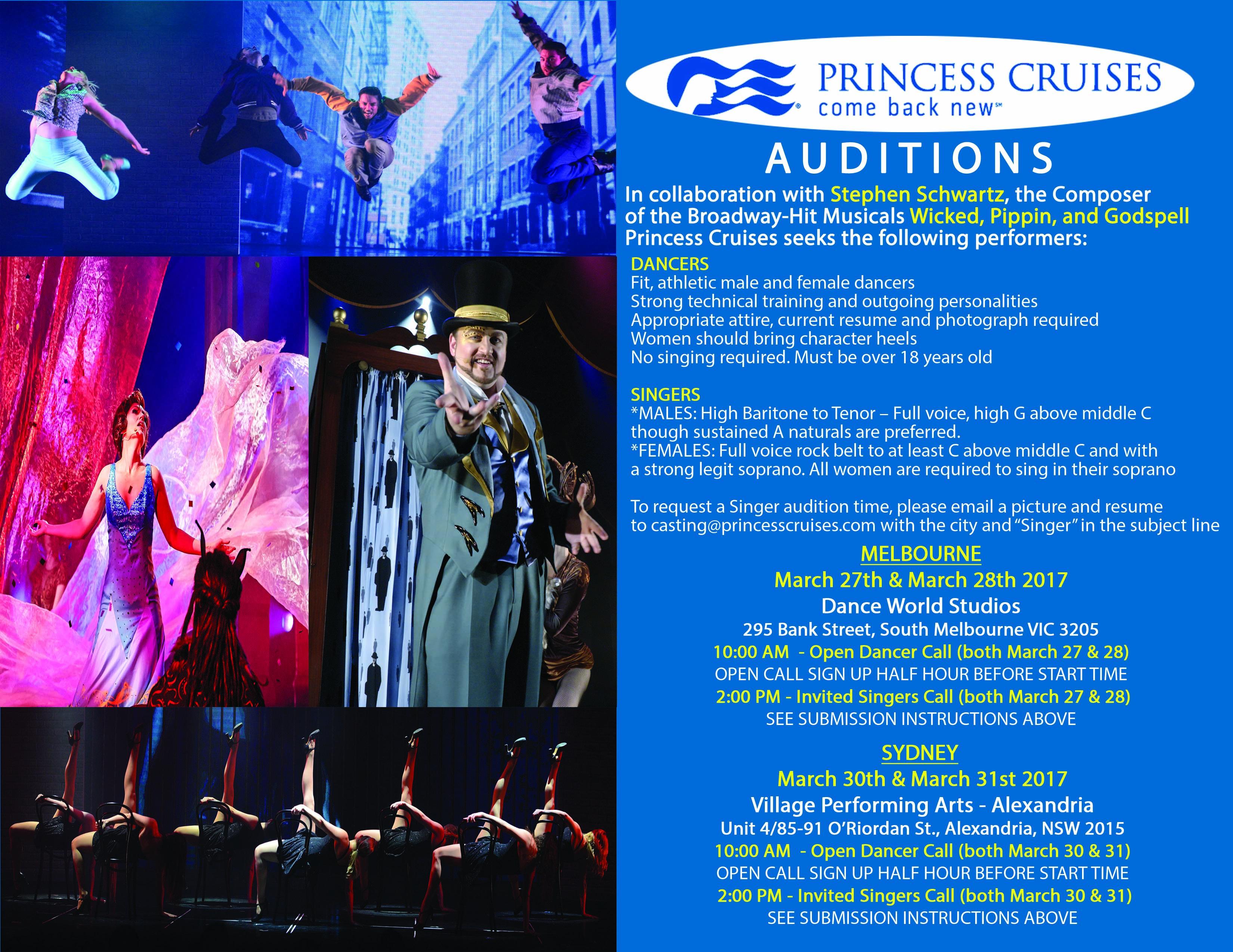 Princess Cruise Lines Australia Audition Tour