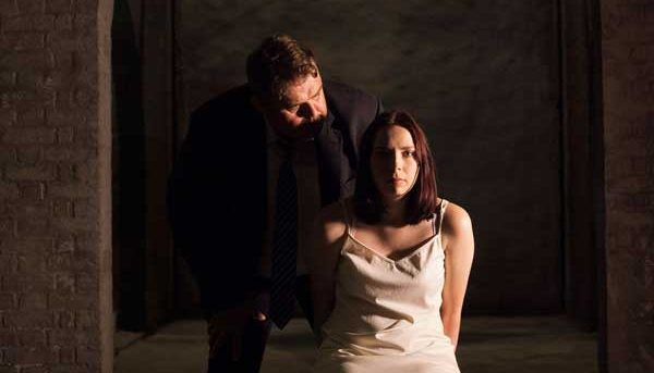 Paddy Farrelly as Creon and Bek Schmidt as Antigone. HeartBeast Theatre. Image supplied.