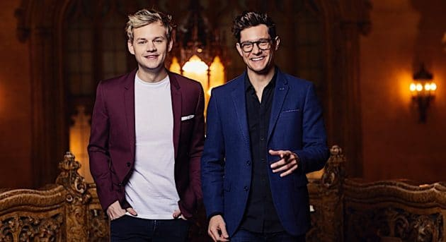 Twisted Broadway 2017 co-hosts Joel Creasey and Rob Mills at the Regent Theatre