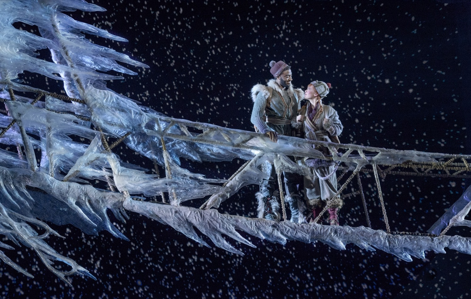 Jelani Alladin (Kristoff) and Patti Murin (Anna) in FROZEN on Broadway | Photo by Deen van Meer