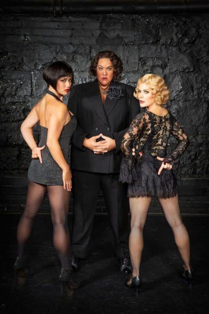 Alinta Chidzey as Velma, Cast Donovan as Mama Morton and Natalie Bassingthwaighte as Roxie | Photo by Peter Brew Bevan
