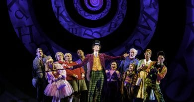 Paul Slade Smith (Willy Wonka) and lead cast of Charlie and the Chocolate Factory. Image by Brian Geach