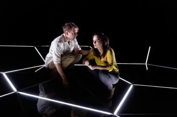 Lucas Stibbard and Jessica Tovey in Constellations - Queensland Theatre. Photography by Rob Maccoll