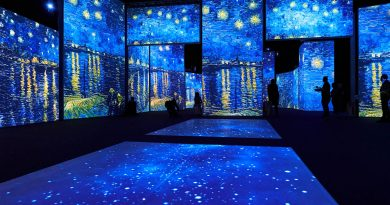 A dark room with multiple projections of Starry Nights by Vincent Van Gogh on the walls and floor. There are blue night skies with swirly stars