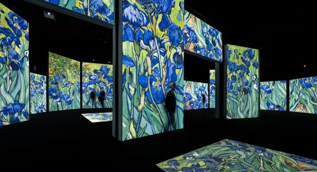 A dark room with multiple screens showing projections of Vincent Van Gogh's Irises painting