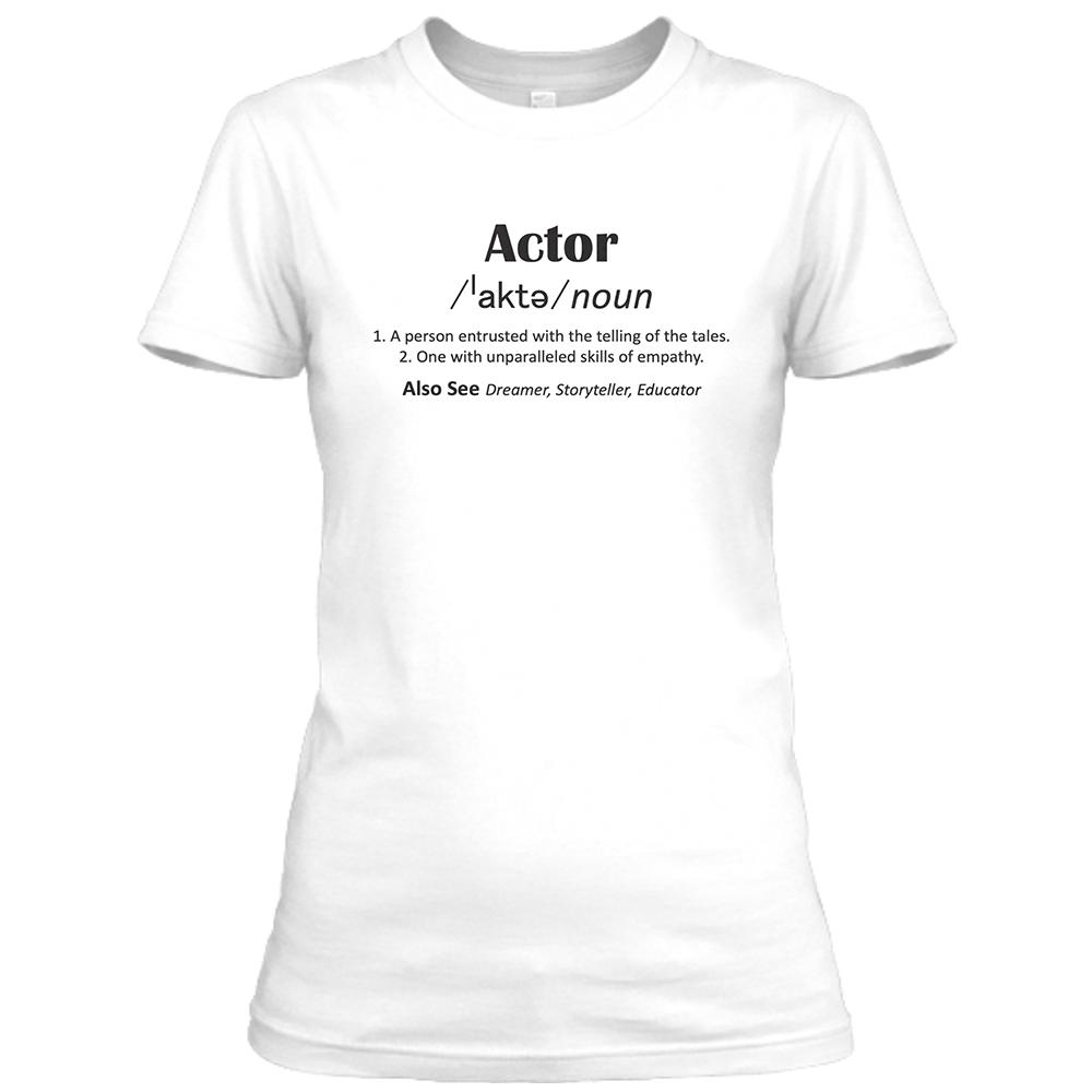 Actor Womens White Crew Neck T-Shirt
