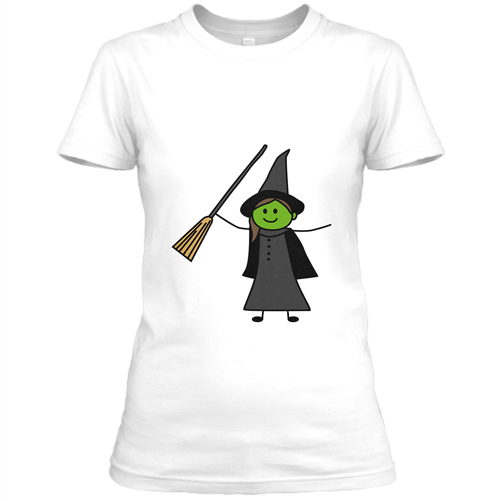Elphaba Womens White Crew Neck T-Shirt