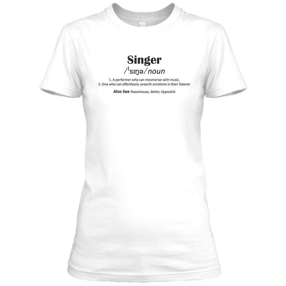 Singer Womens White Crew Neck T-Shirt