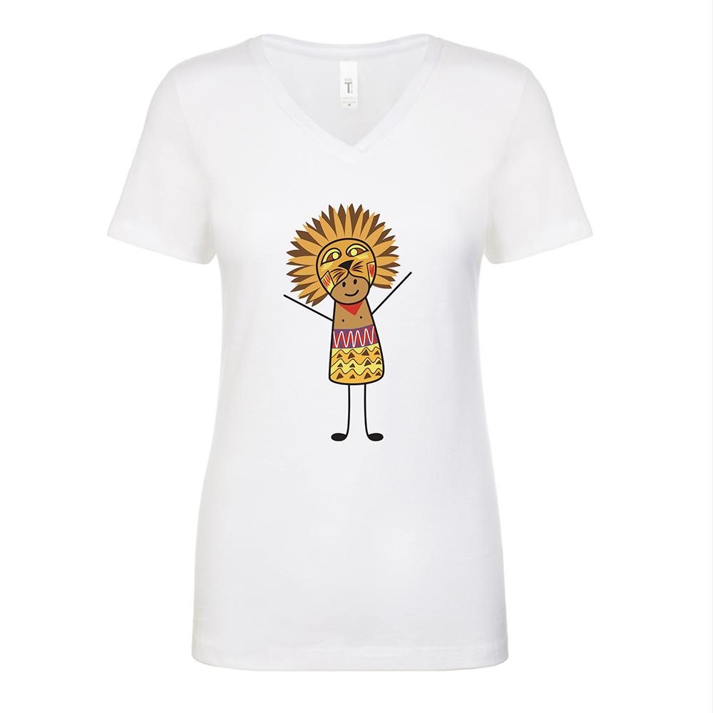 Lion King Womens White V Neck T-Shirt